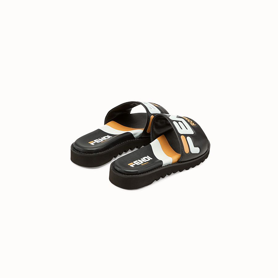 FENDI SANDALS - Black leather slides - view 3 detail