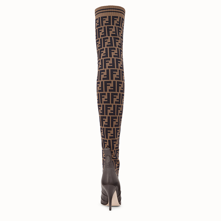 FENDI BOOTS - Brown leather thigh-high boots - view 3 detail