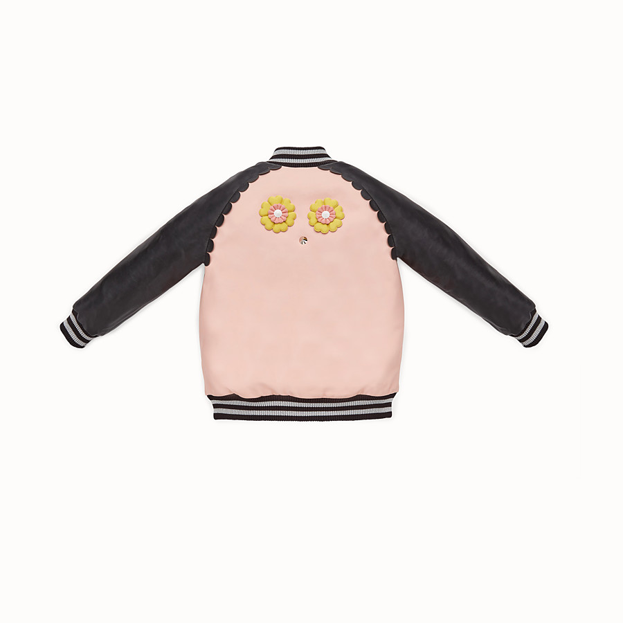FENDI BOMBER - Junior girl's black and pink leather bomber jacket - view 2 detail