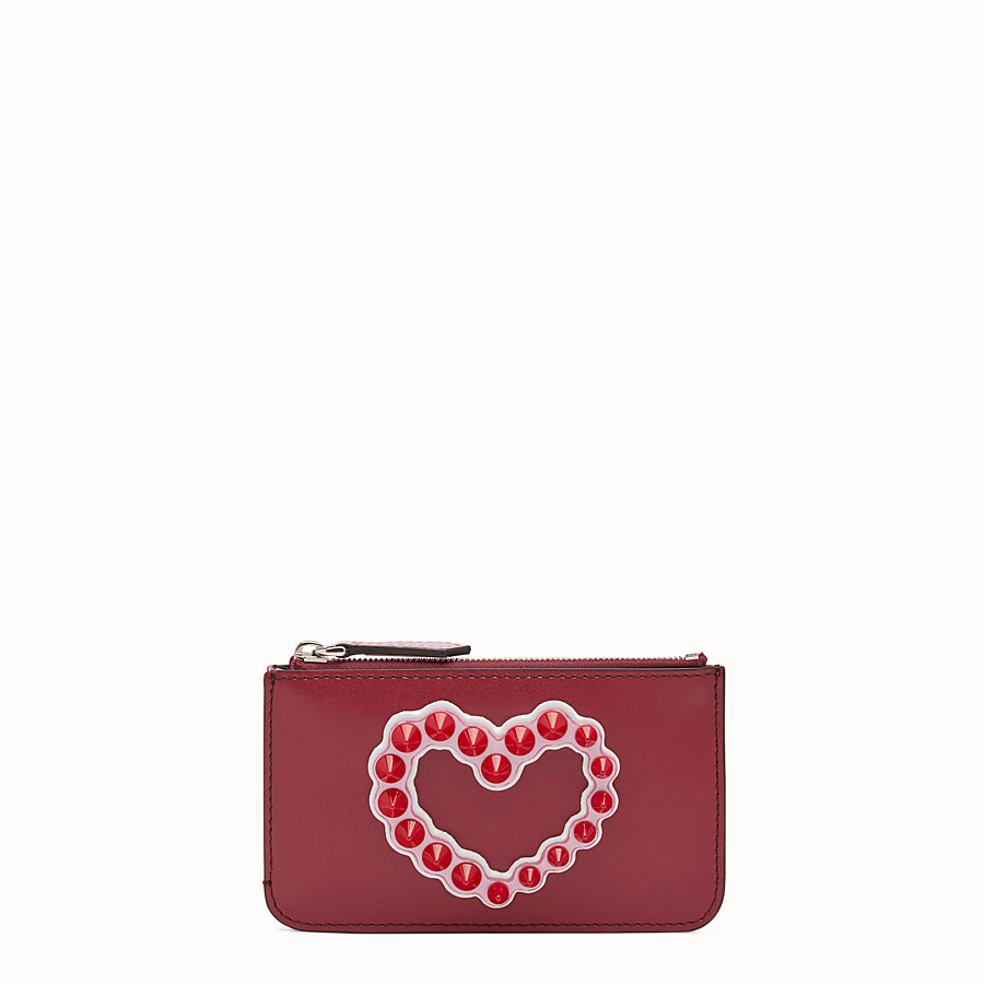 FENDI KEYRING POUCH - Red leather pouch - view 1 detail