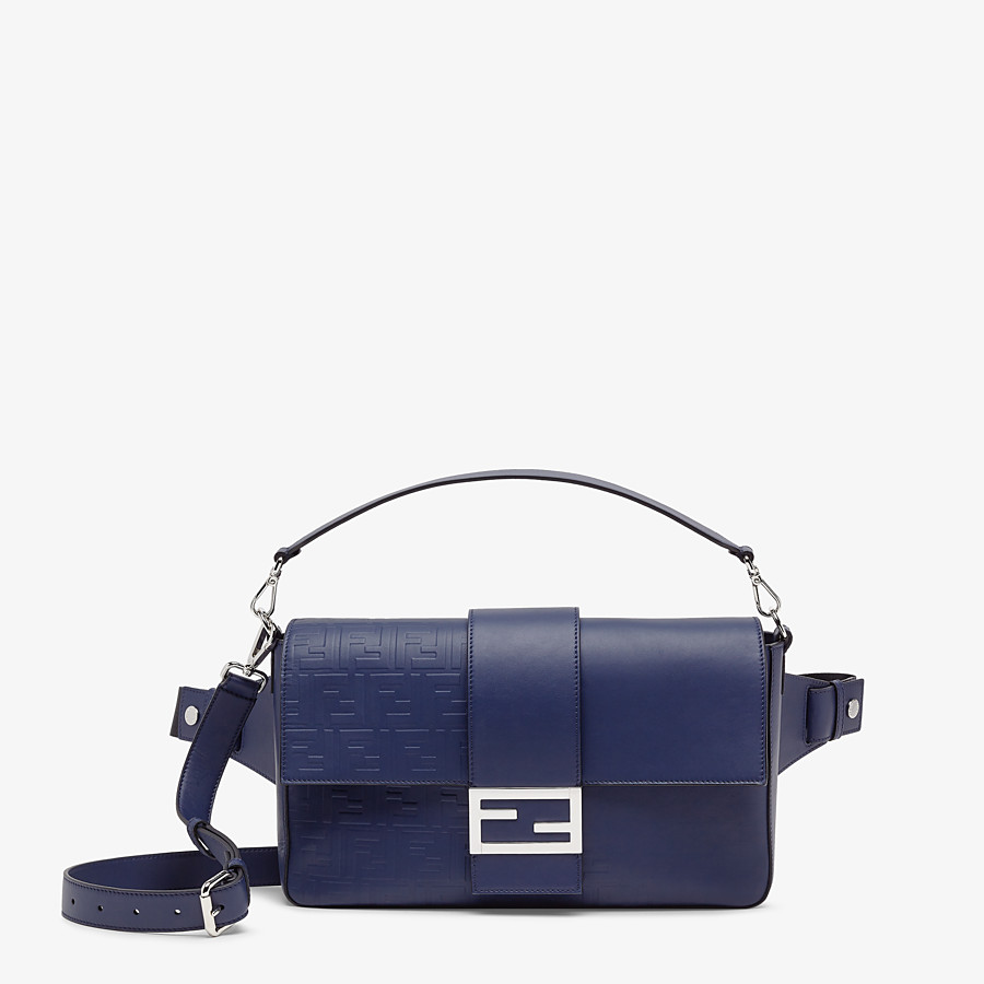 FENDI BAGUETTE LARGE - Blue calfskin bag - view 1 detail