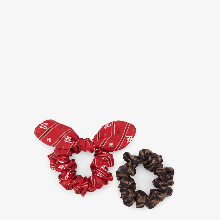 FENDI HAIR TIES - Set of two multicolor silk hair ties - view 1 detail