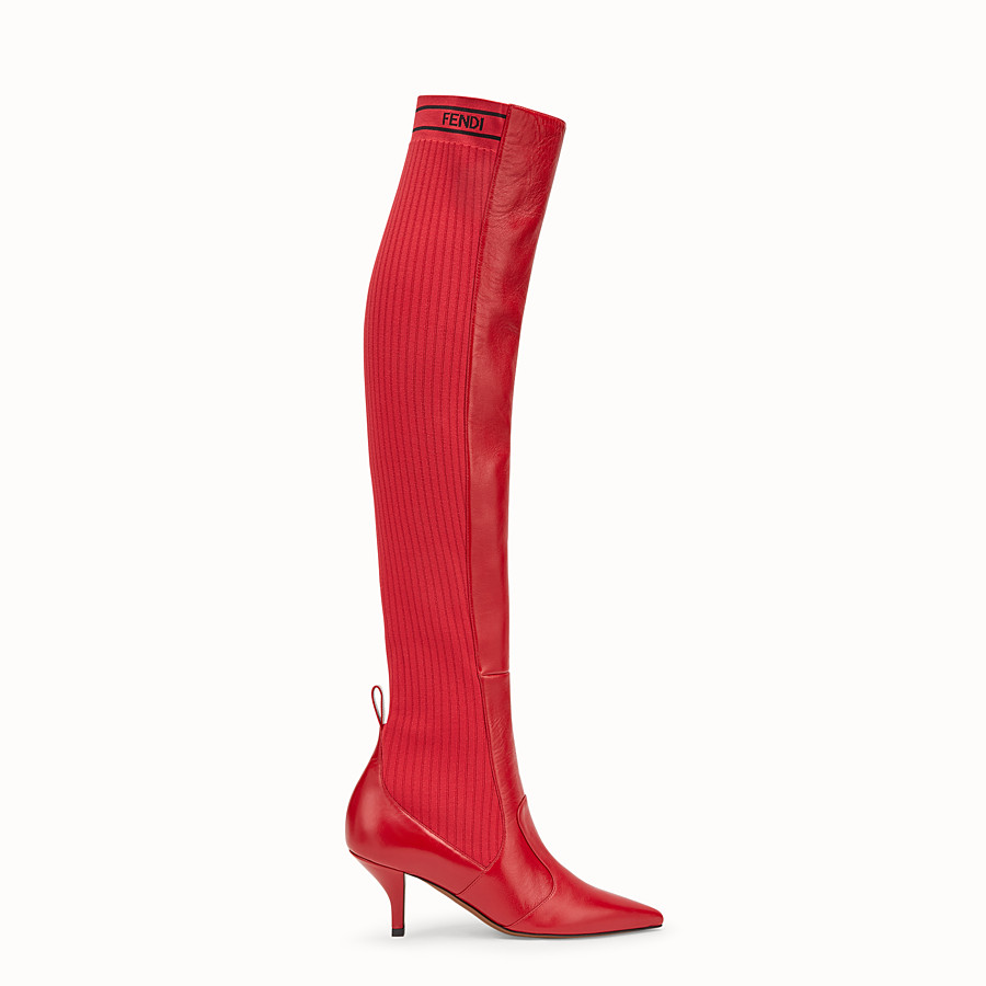 FENDI BOOTS - Red leather thigh-high boots - view 1 detail