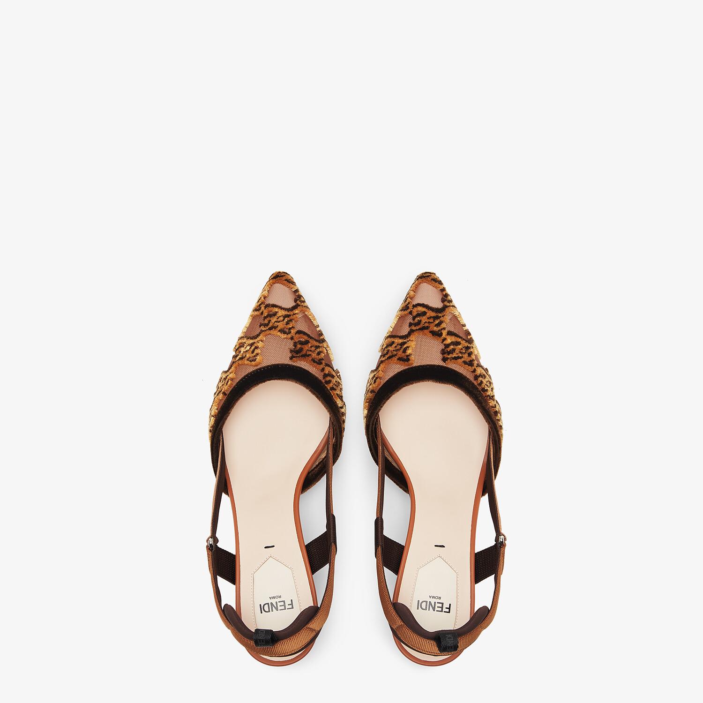 FENDI COLIBRÌ - Brown mesh and embroidery medium-heeled slingbacks - view 4 detail