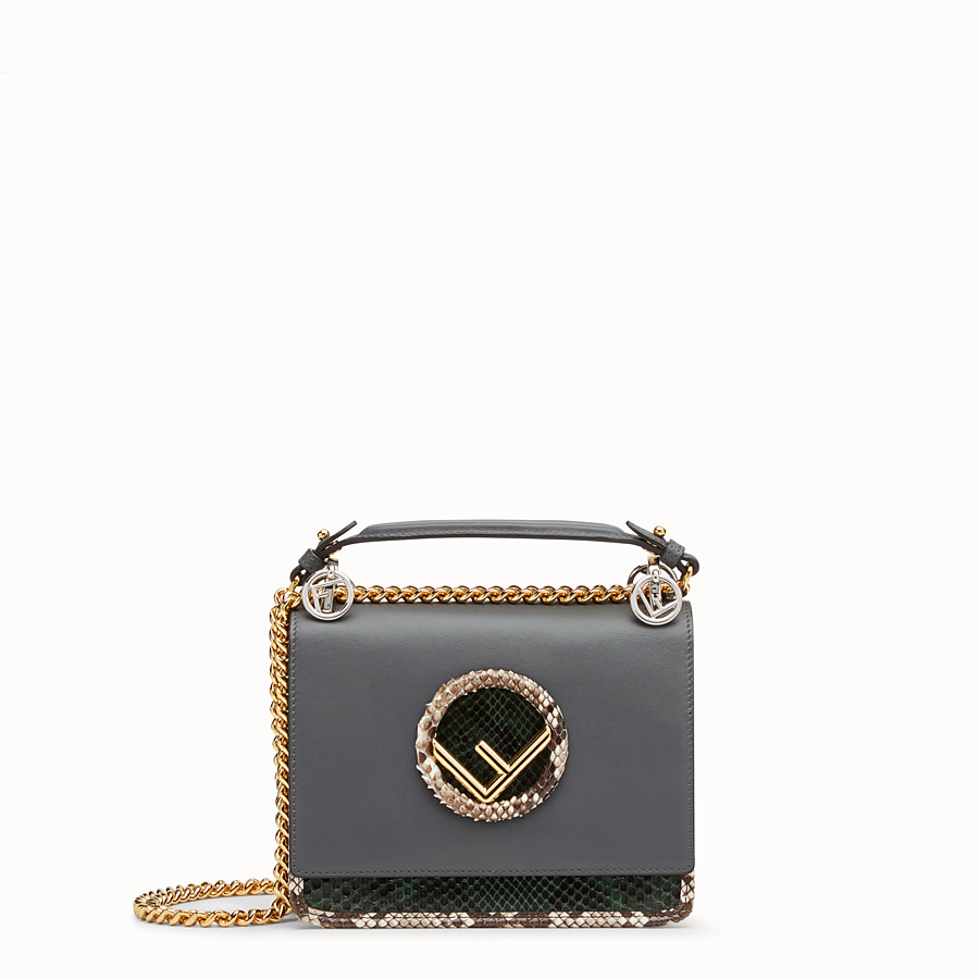 FENDI KAN I F SMALL - Grey leather mini-bag with exotic details - view 1 detail