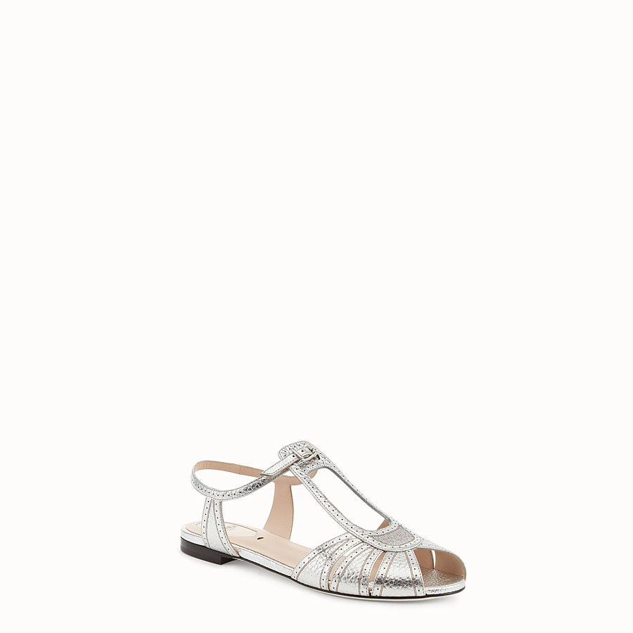 FENDI SANDALS - Silver leather flats - view 2 detail