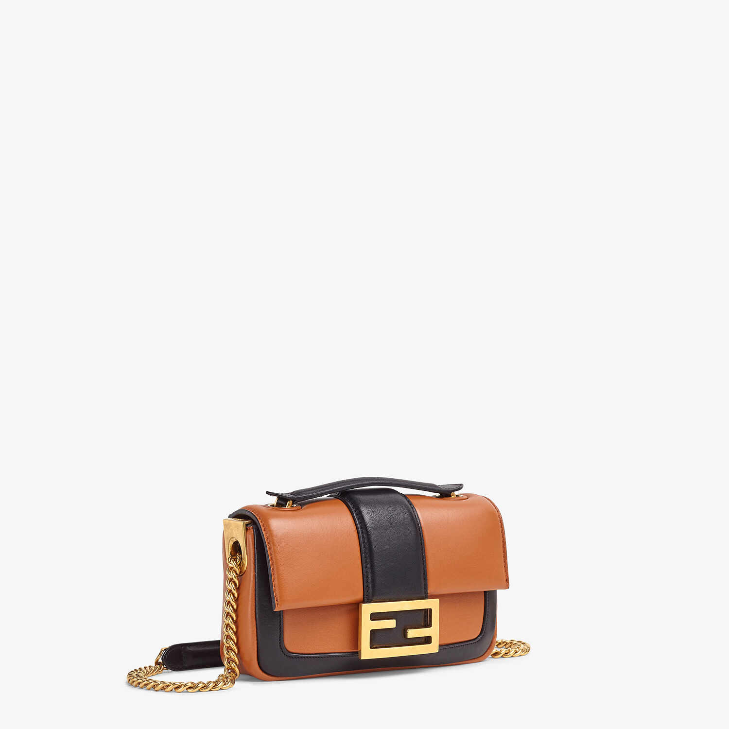FENDI MINI BAGUETTE CHAIN - Brown and black nappa leather bag - view 3 detail