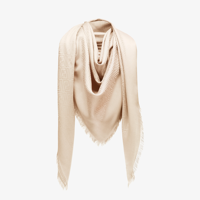 FENDI FF SHAWL - Pink silk and jacquard wool shawl - view 2 detail