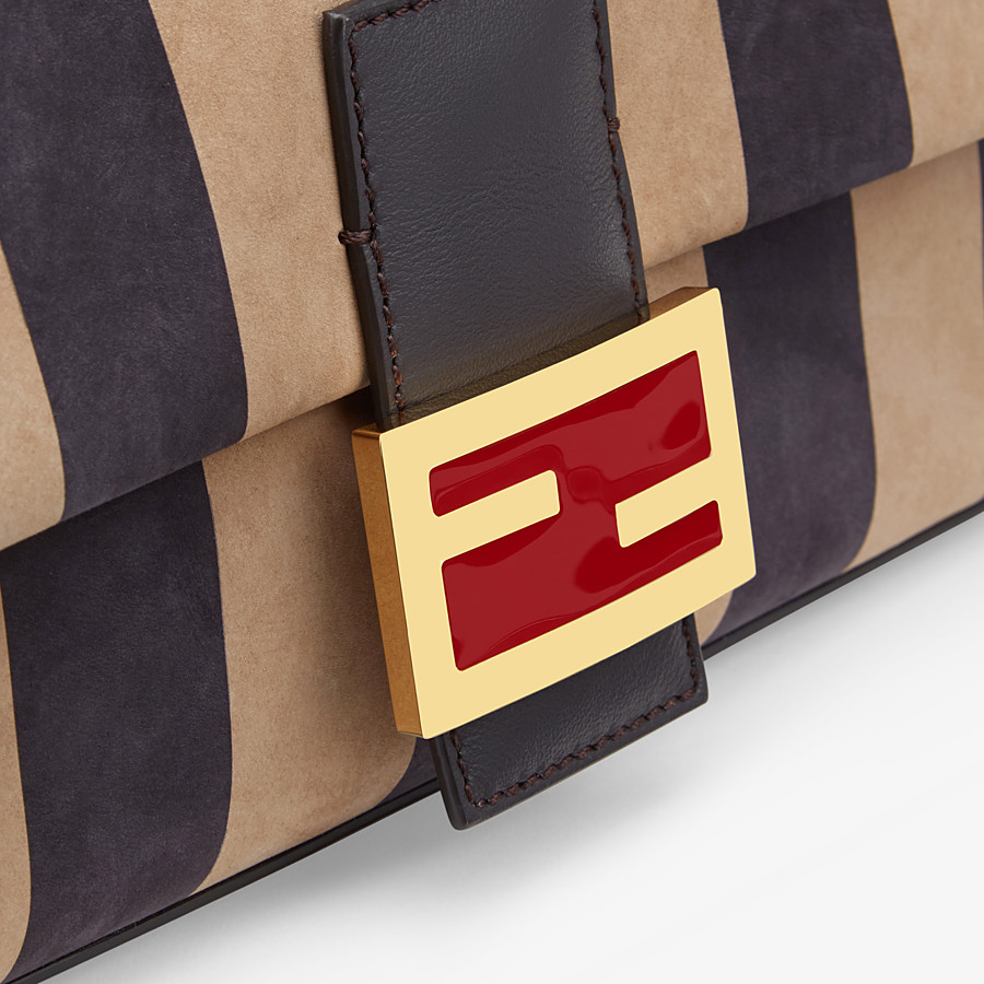 FENDI BAGUETTE - Brown nubuck leather bag - view 6 detail