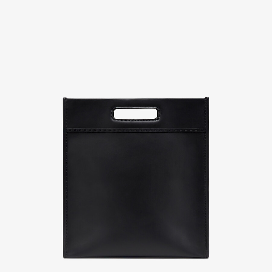 FENDI SHOPPING BAG - Black leather shopper - view 4 detail