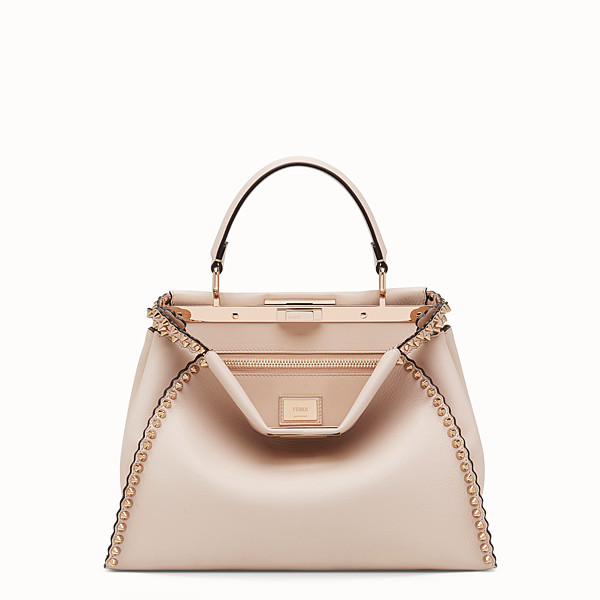 FENDI PEEKABOO REGULAR - Pink leather bag - view 1 small thumbnail