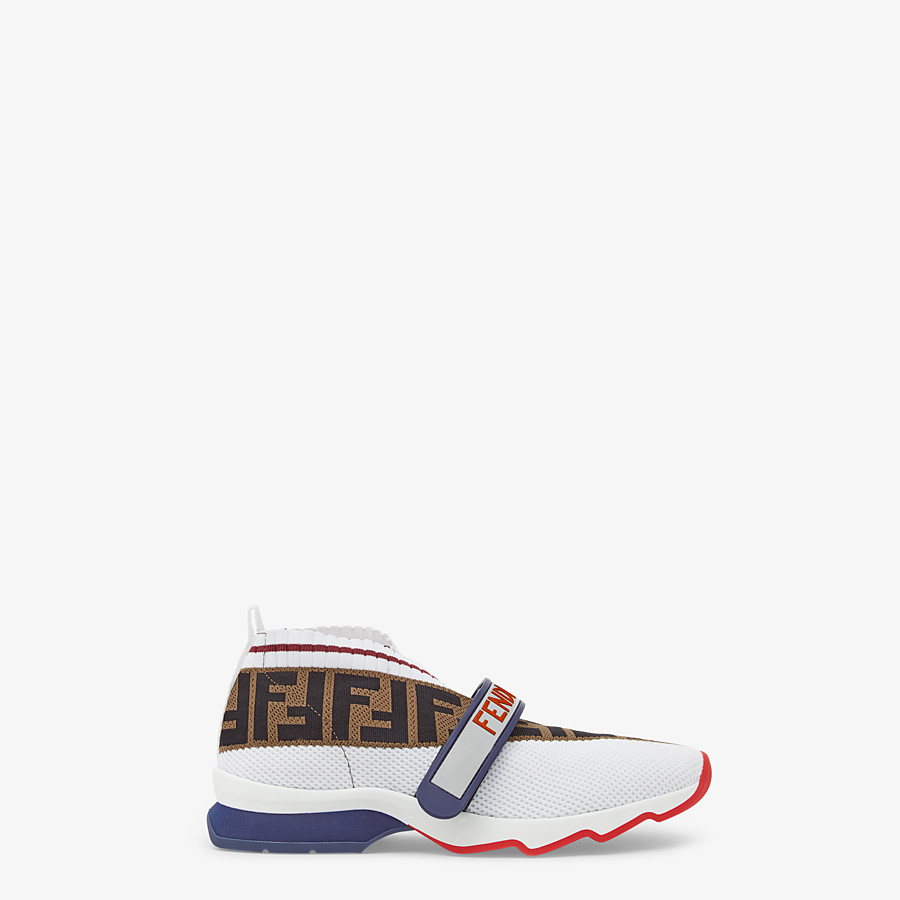 FENDI SNEAKERS - White fabric sneakers - view 1 detail