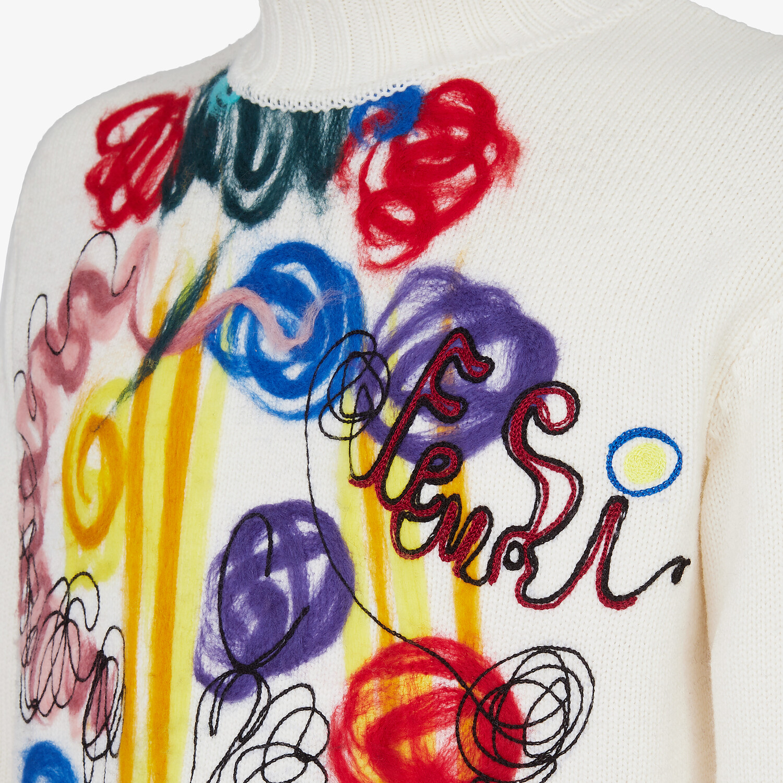 FENDI TURTLENECK - White wool sweater - view 3 detail