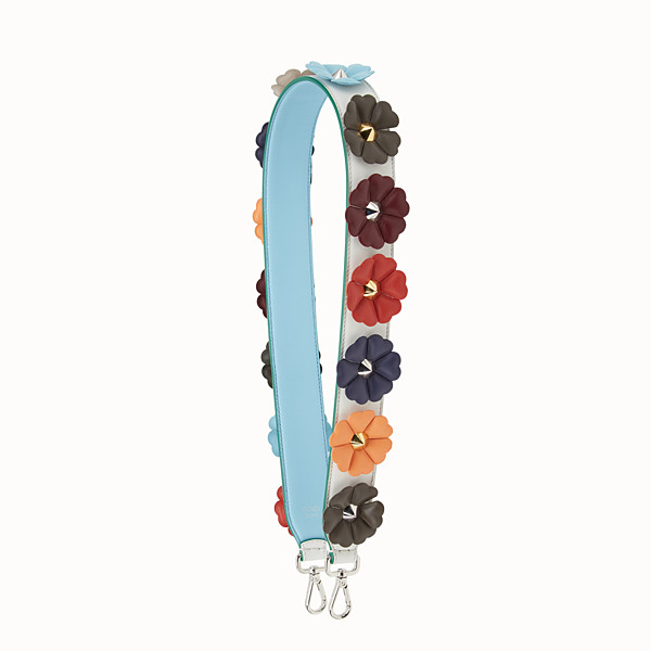 FENDI STRAP YOU - Shoulder strap in white leather with flowers - view 1 small thumbnail