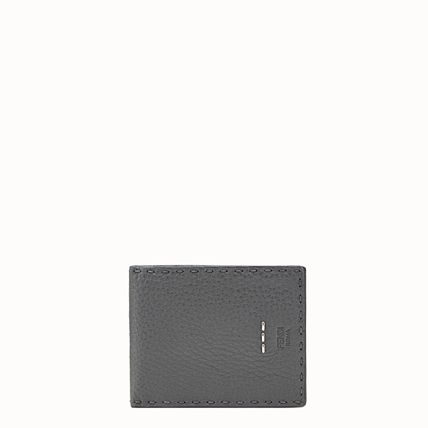 FENDI WALLET - Light grey leather bi-fold Selleria wallet - view 1 small thumbnail