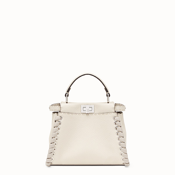 FENDI PEEKABOO ICONIC MINI - White leather bag - view 1 small thumbnail