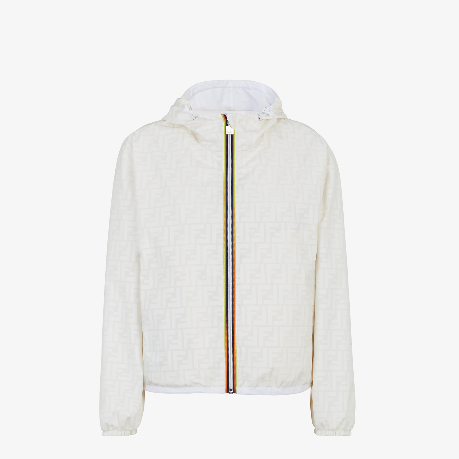 FENDI WINDBREAKER - White nylon FENDI x K-Way® jacket - view 1 detail