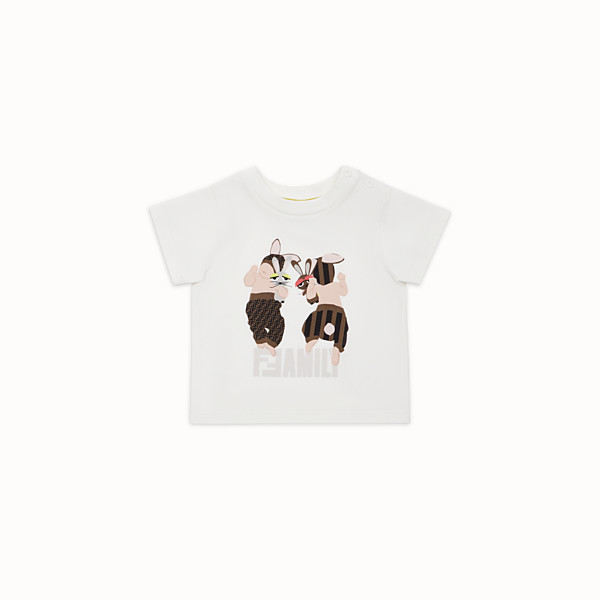 FENDI T-SHIRT - White cotton Baby T-Shirt - view 1 small thumbnail