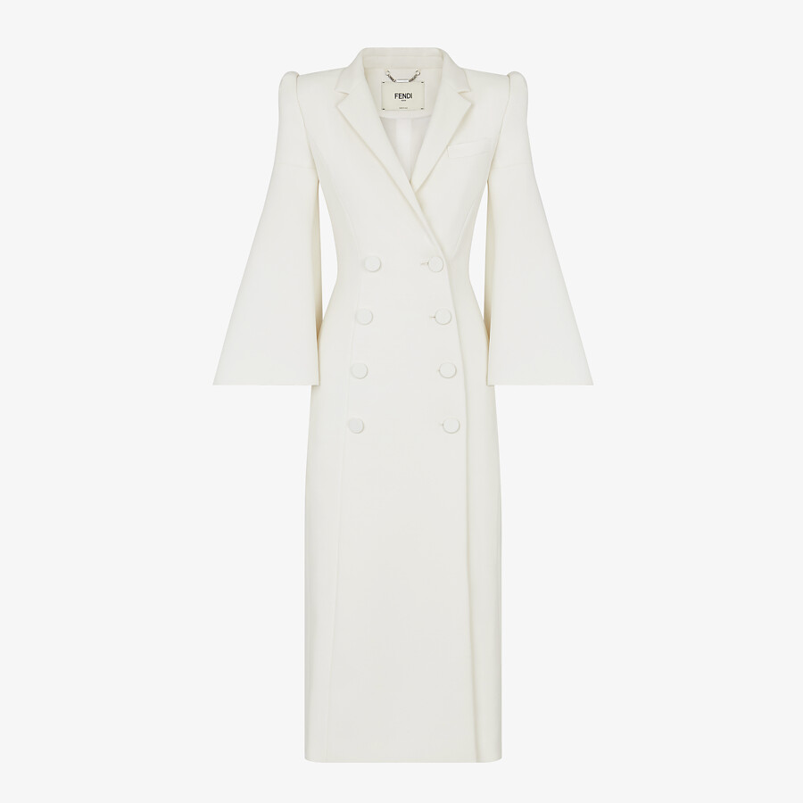 FENDI OVERCOAT - White silk and wool coat - view 1 detail
