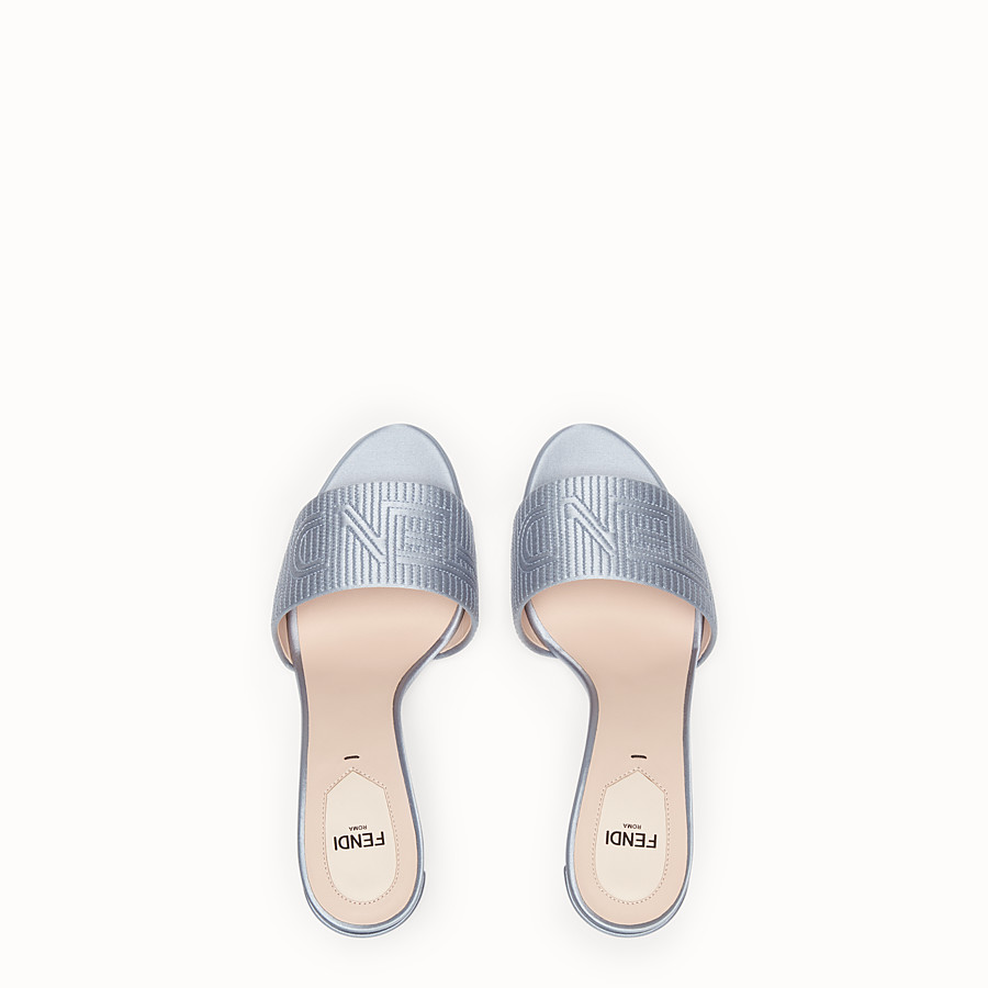 FENDI SABOTS - Grey satin high sandals - view 4 detail