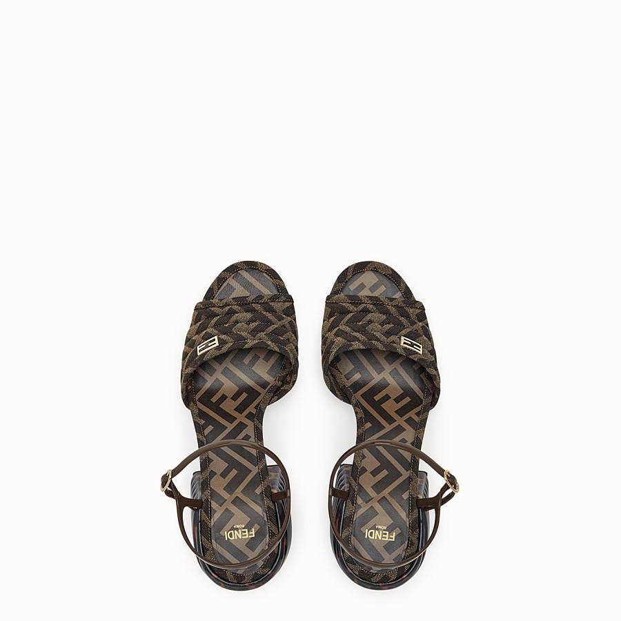 FENDI SLINGBACK - Brown fabric sandals - view 4 detail