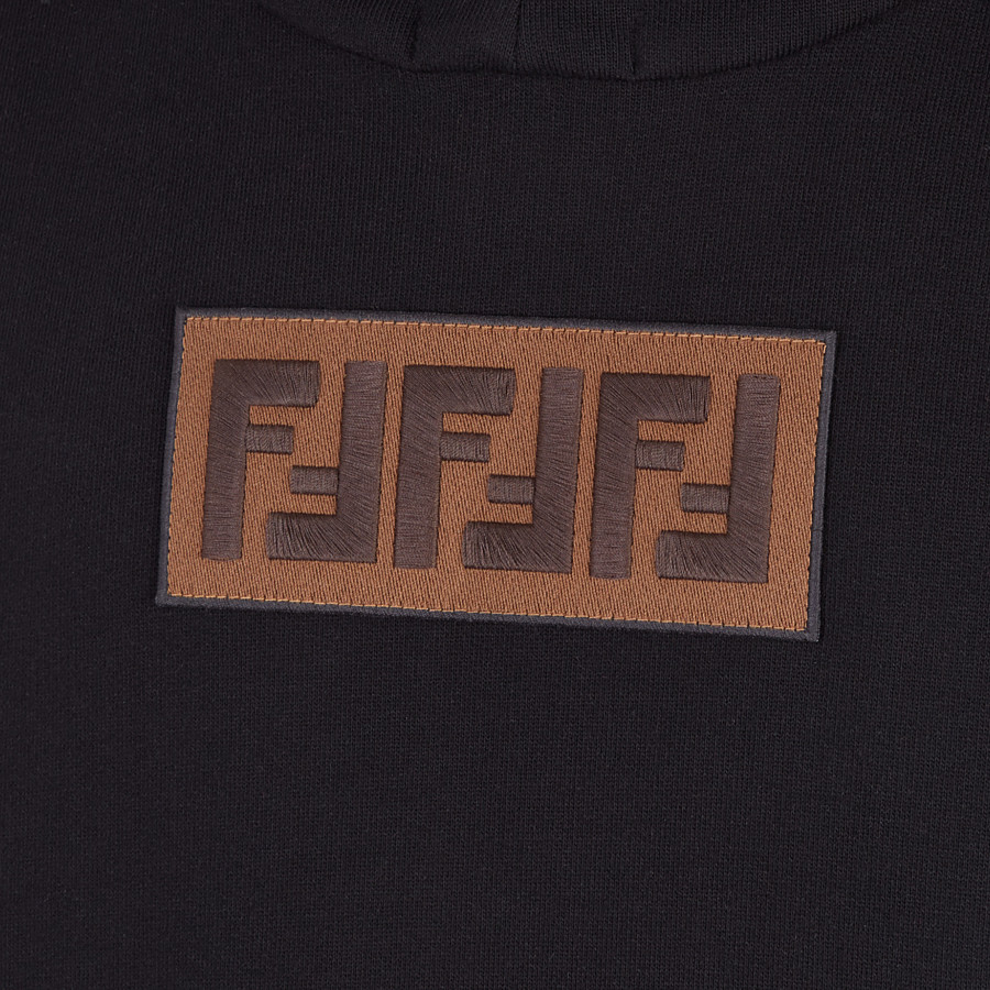 FENDI  - Black cotton and cashmere sweatshirt - view 3 detail