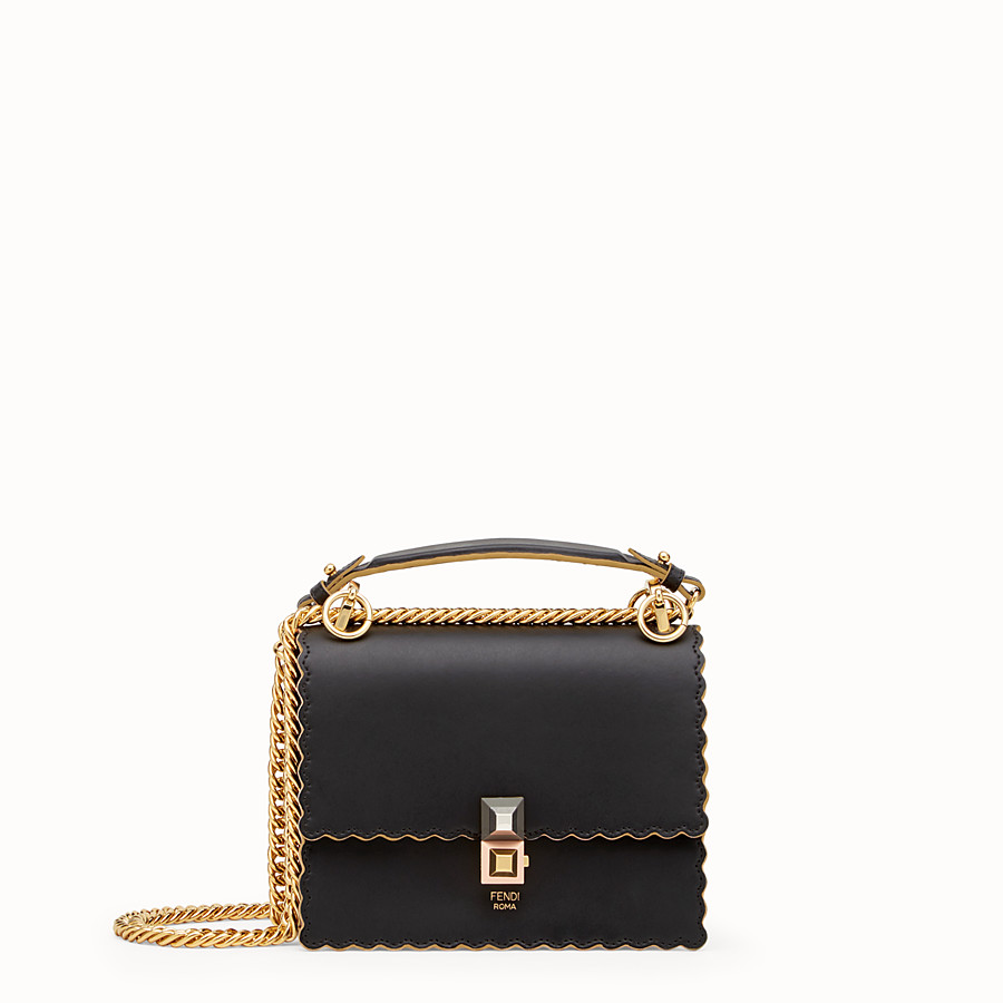 FENDI KAN I SMALL - Mini-sac en cuir noir - view 1 detail