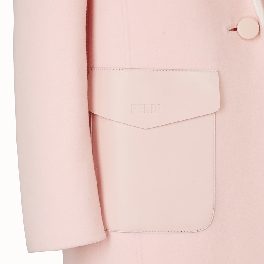 FENDI OVERCOAT - Pink wool overcoat - view 3 detail