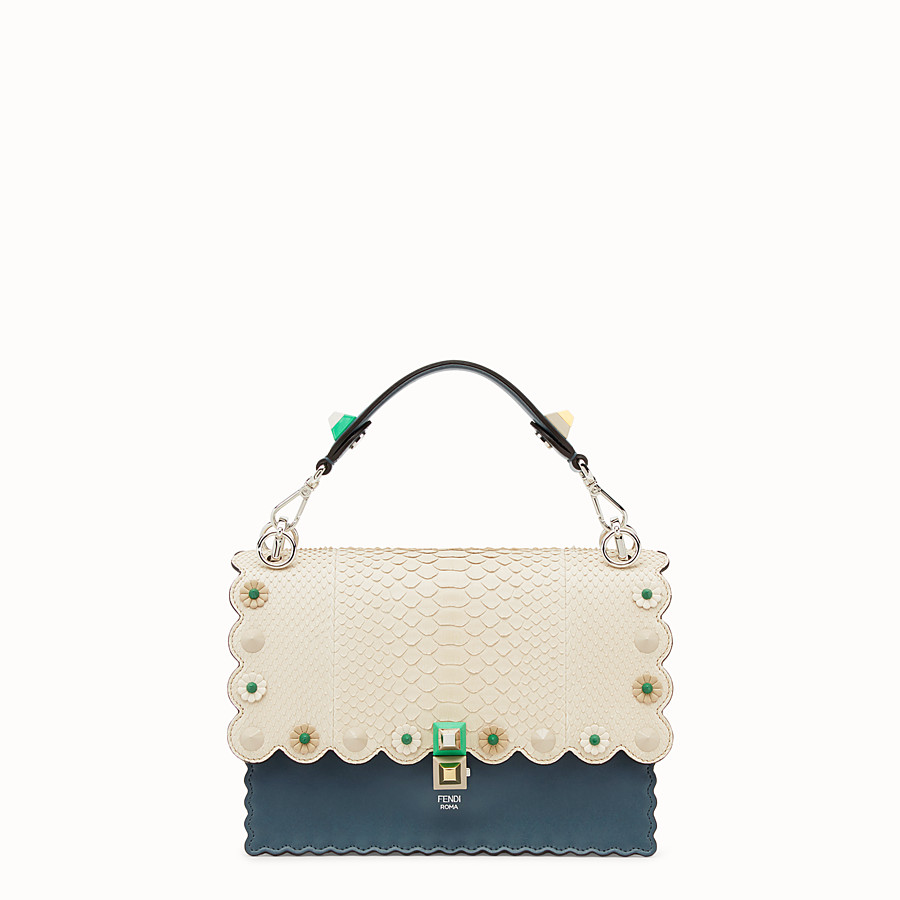 FENDI KAN I - Blue leather bag with exotic details - view 1 detail