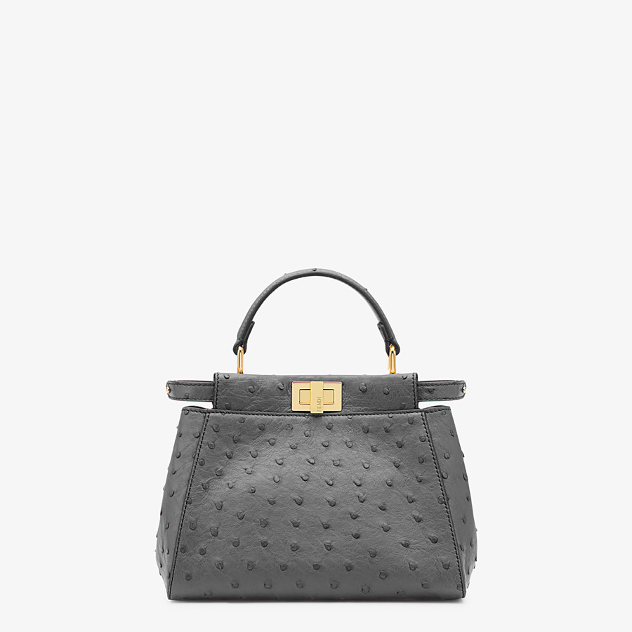 FENDI PEEKABOO ICONIC MINI - Gray ostrich leather bag - view 1 detail