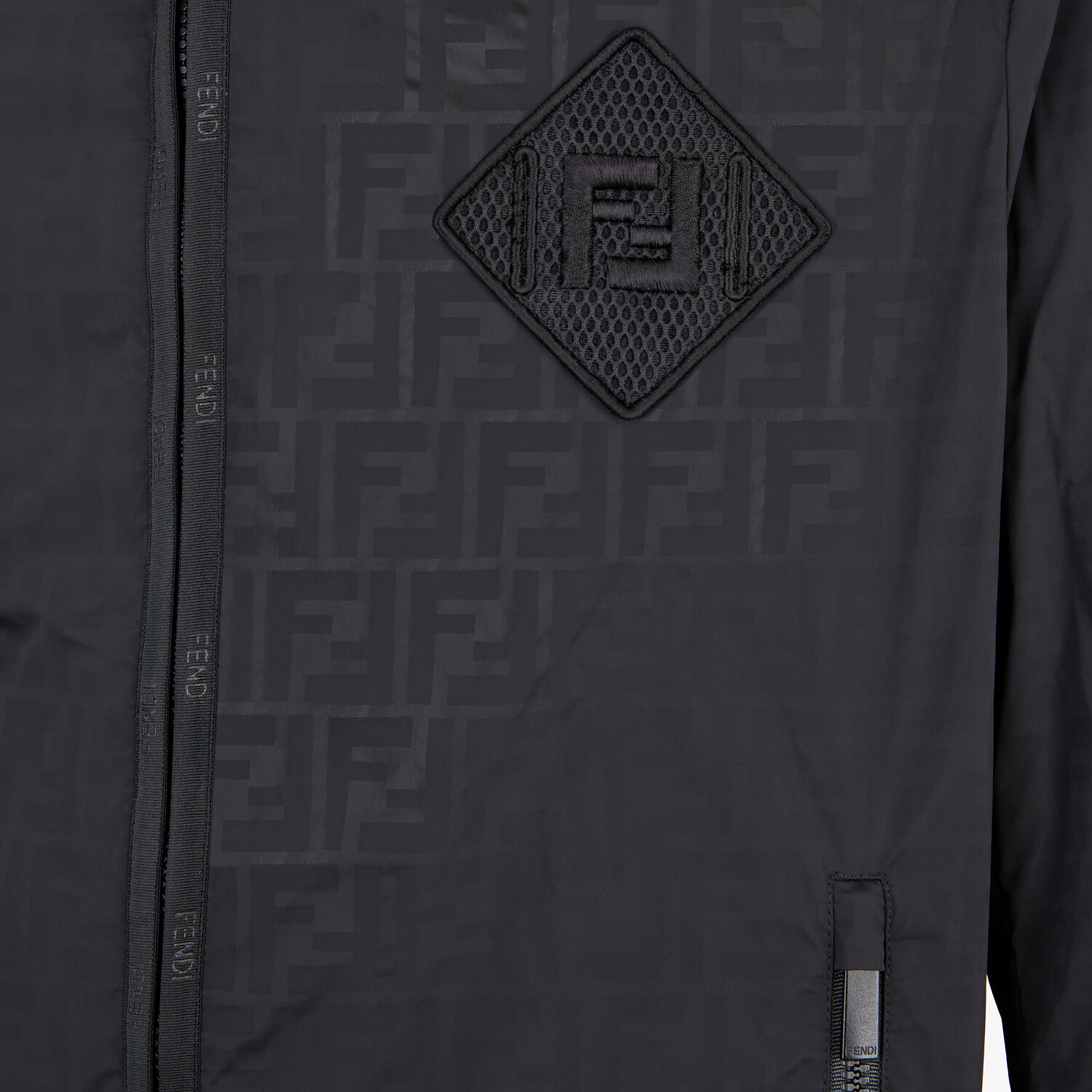 FENDI WINDBREAKER - Windbreaker in black tech fabric - view 3 detail