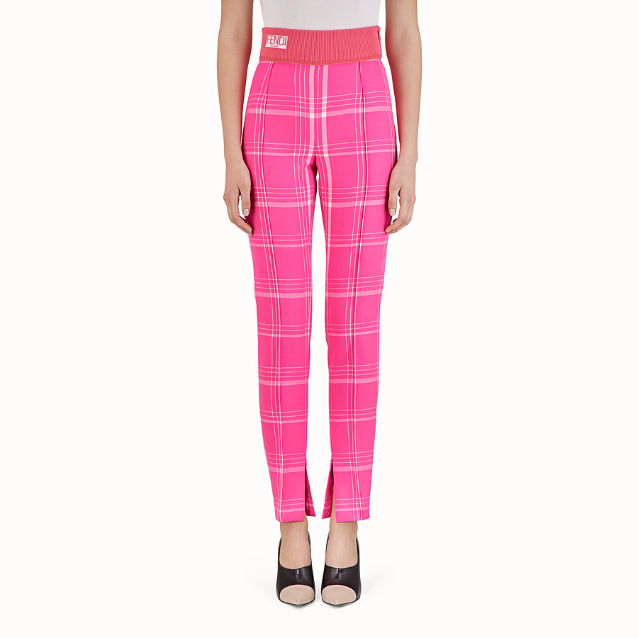 FENDI TROUSERS - Fuchsia tartan wool trousers - view 1 detail