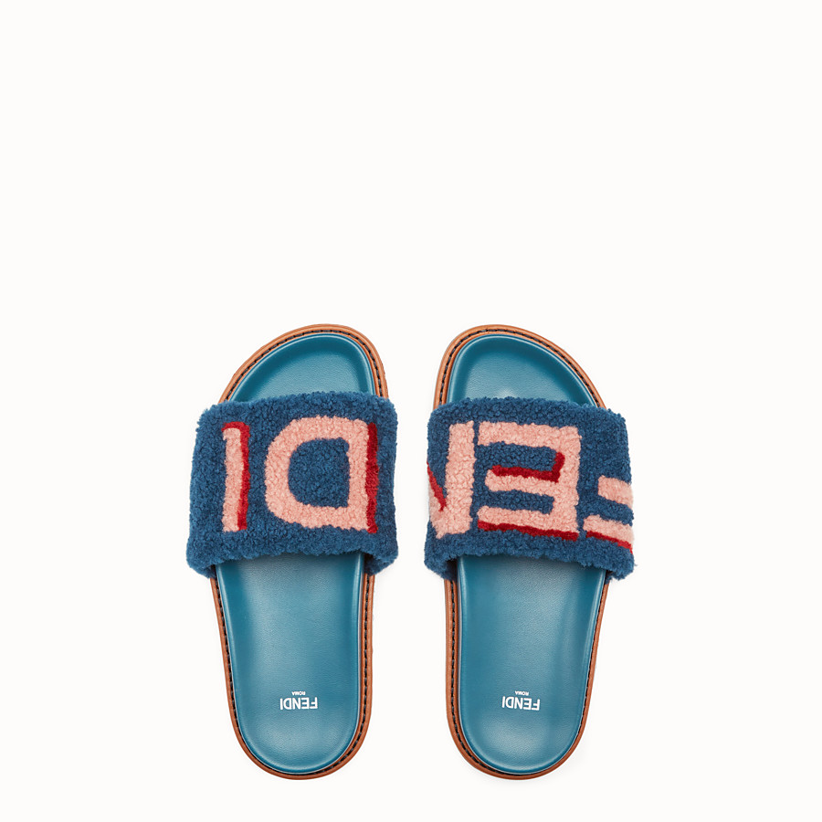 FENDI SLIDES - Flats in leather and multicolour sheepskin - view 4 detail