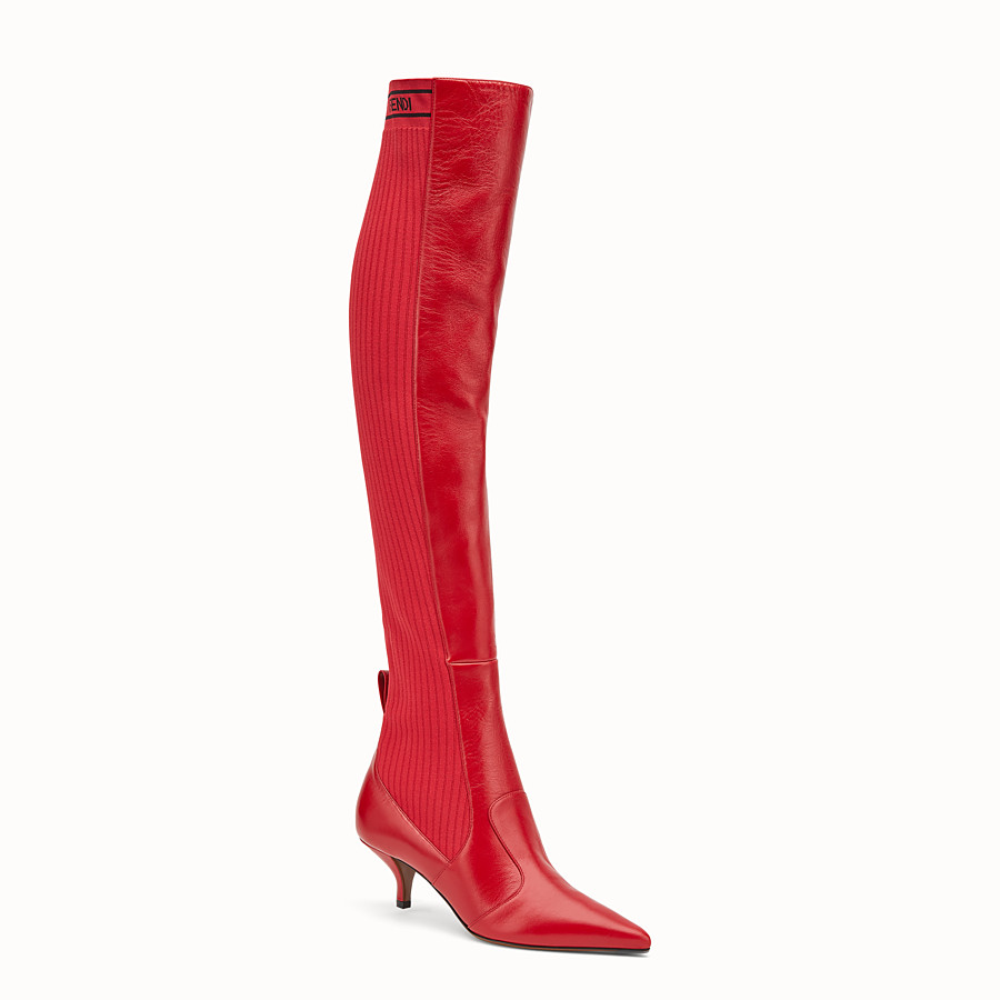 FENDI BOOTS - Red leather thigh-high boots - view 2 detail