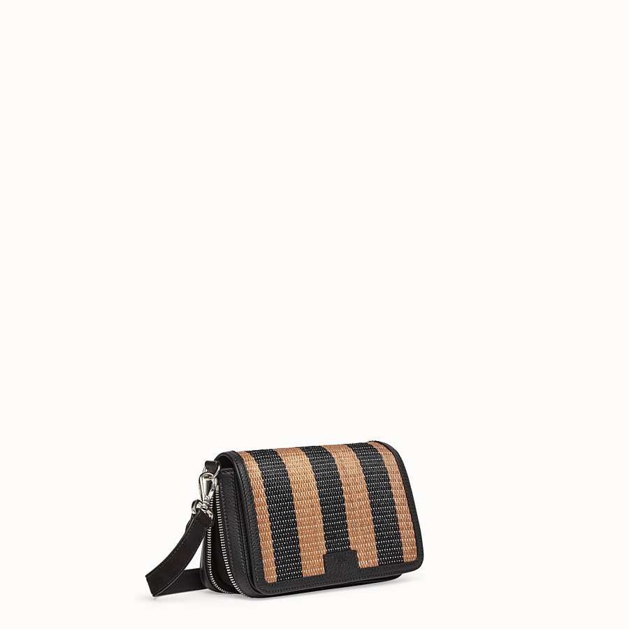 FENDI FLAP BAG - Borsa in rafia marrone - vista 3 dettaglio