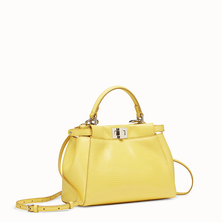 FENDI PEEKABOO ICONIC MINI - Yellow lizard bag - view 2 detail