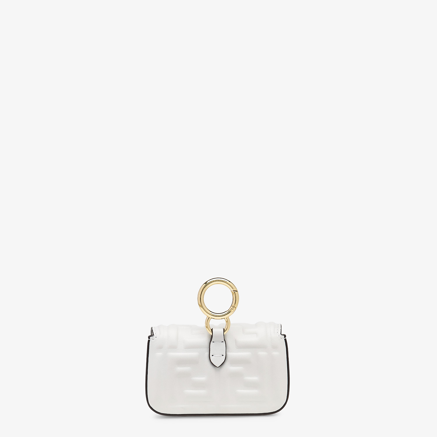FENDI NANO BAGUETTE CHARM - White nappa leather charm - view 3 detail
