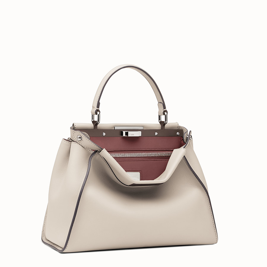 FENDI PEEKABOO REGULAR - Powder-grey leather handbag - view 2 detail