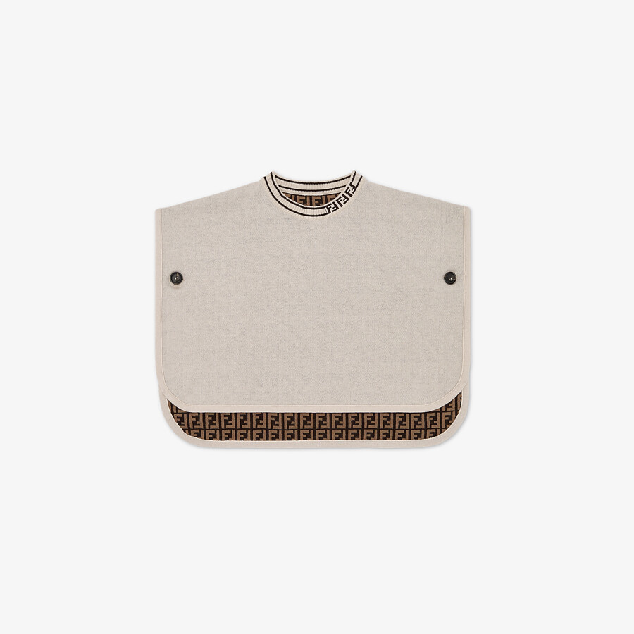 FENDI KNIT CAPE - Beige cotton and cashmere and FF logo reversible baby cape - view 1 detail
