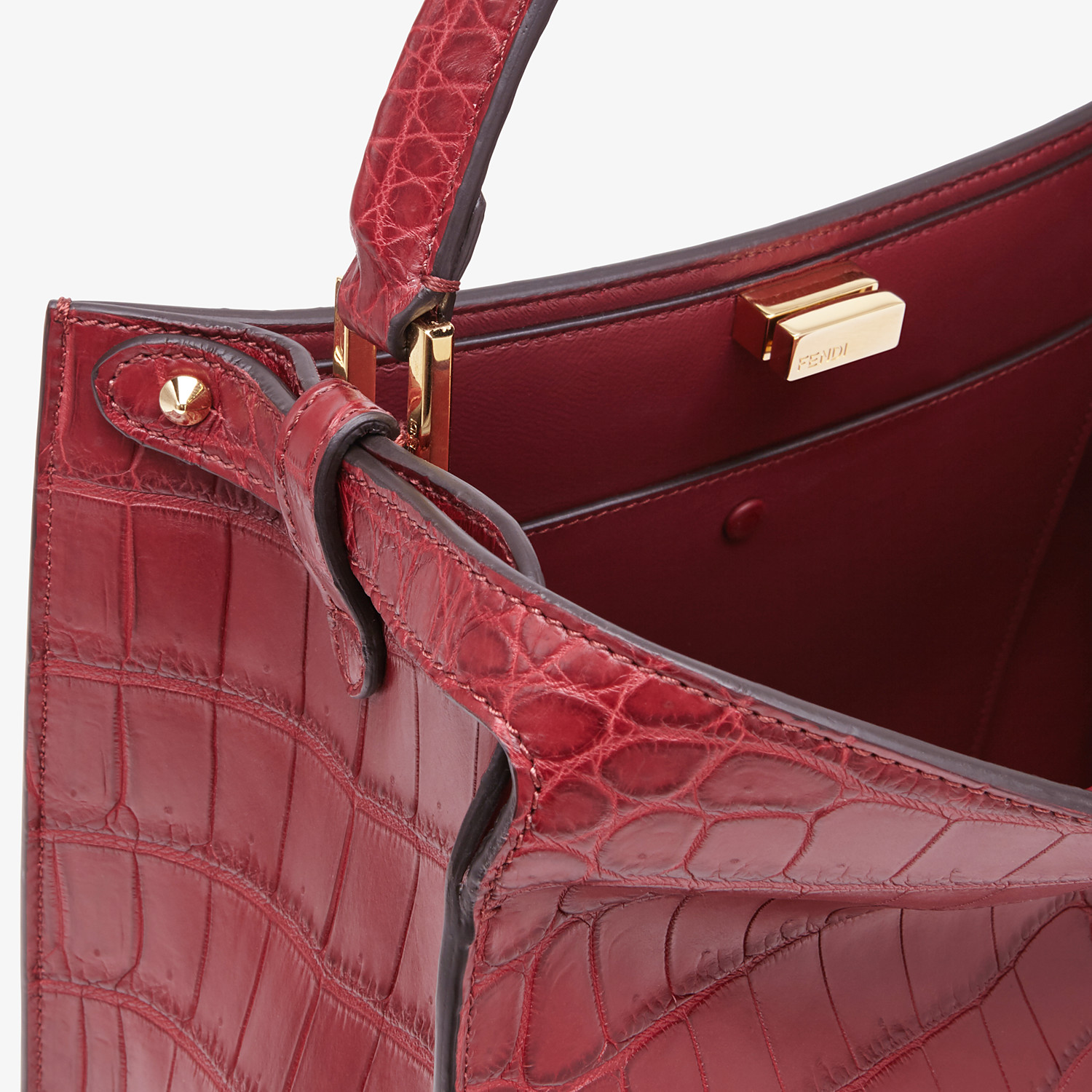 FENDI PEEKABOO X-LITE MEDIUM - Burgundy crocodile leather bag - view 6 detail