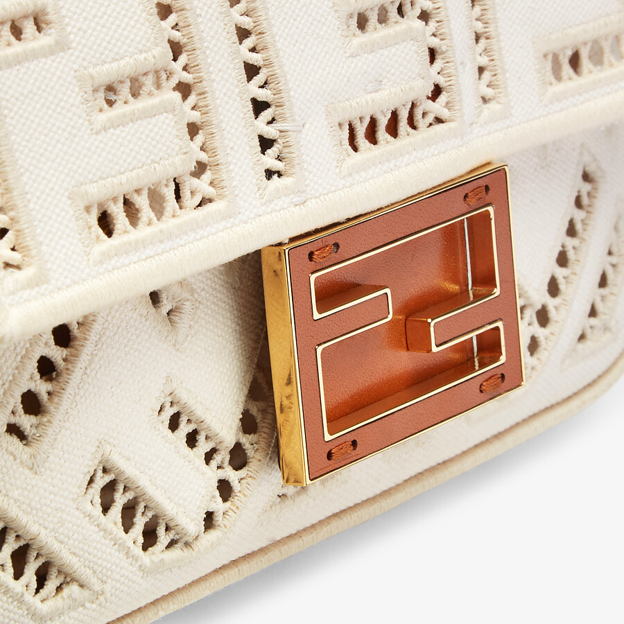 FENDI BAGUETTE MINI - White canvas bag with embroidery - view 5 detail