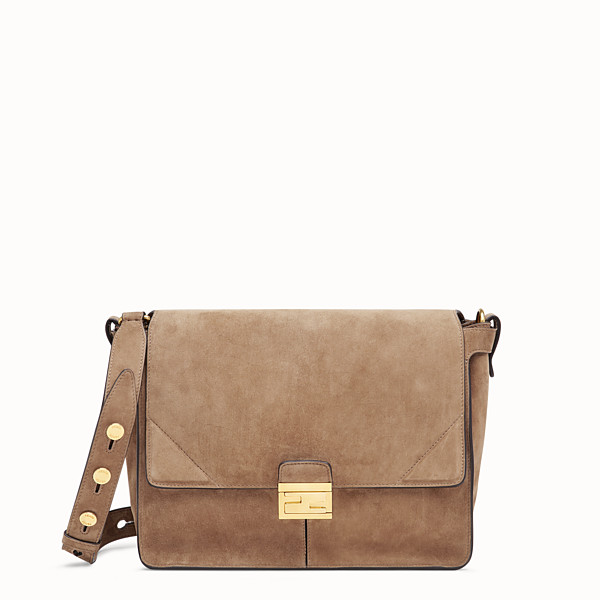 FENDI KAN U LARGE - Brown suede bag - view 1 small thumbnail