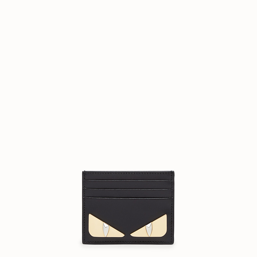 FENDI CARD HOLDER - Black leather flat card holder - view 1 detail