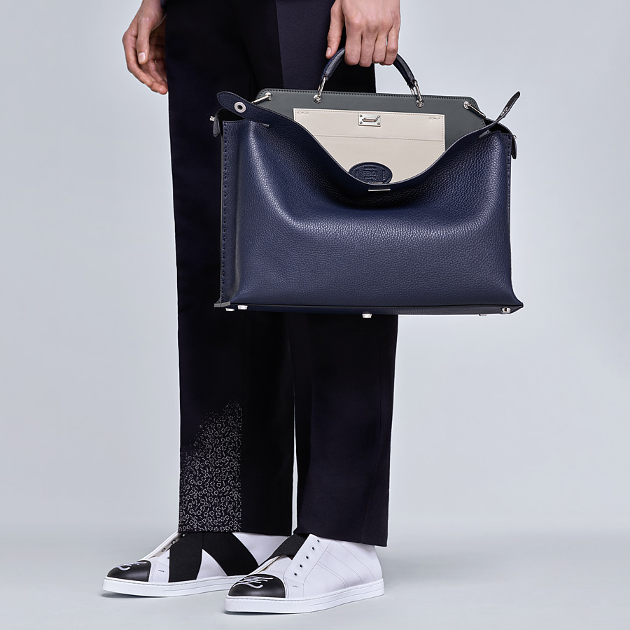 FENDI PEEKABOO ICONIC ESSENTIAL - Blue leather bag - view 6 detail