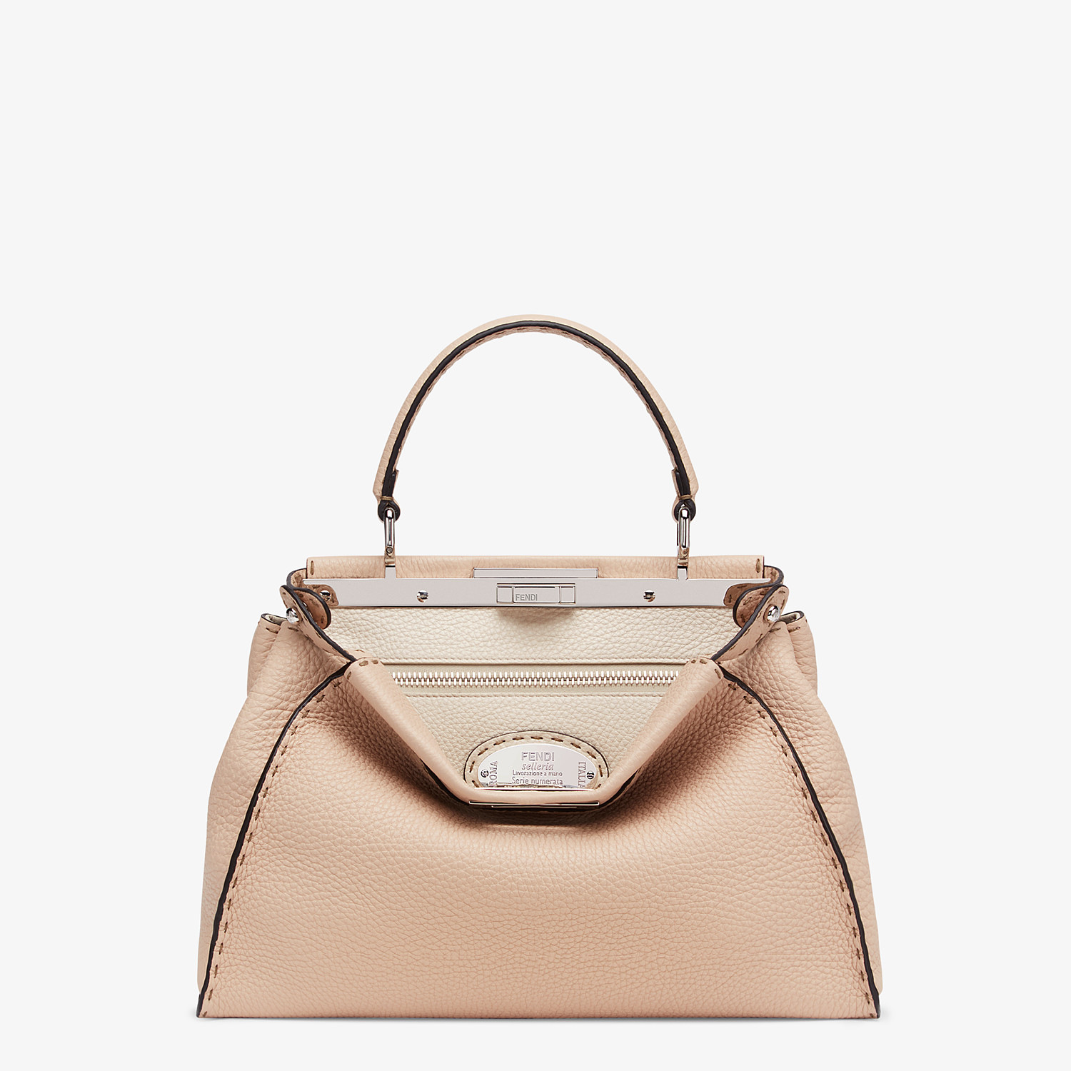 FENDI PEEKABOO ICONIC MEDIUM - Beige leather bag - view 1 detail