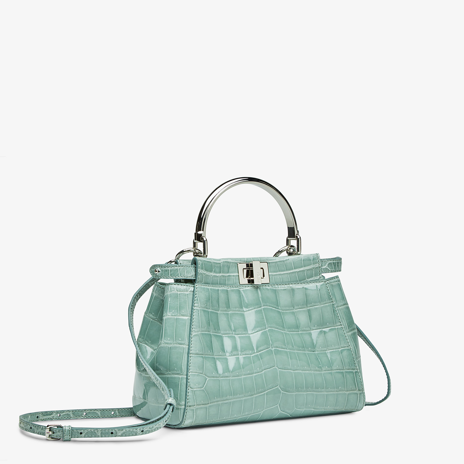 FENDI PEEKABOO ICONIC MINI - handbag in aqua green crocodile - view 2 detail