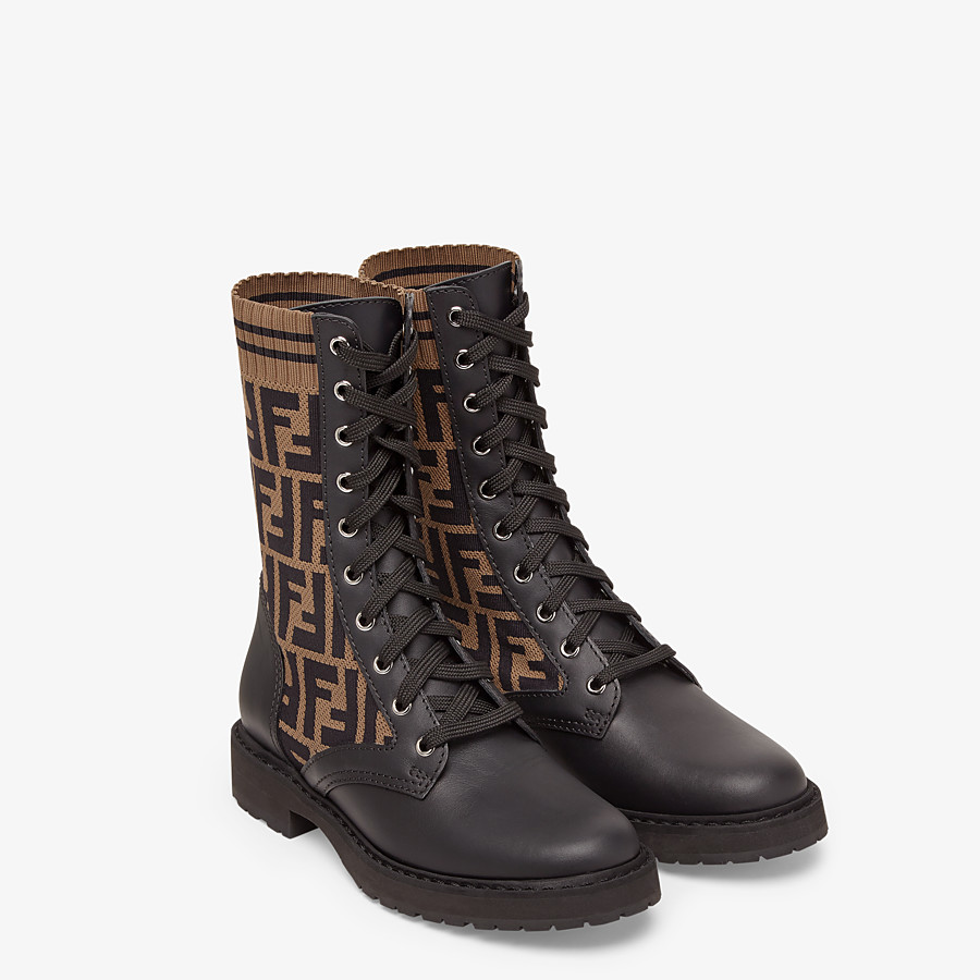 FENDI BIKER BOOTS - Black leather biker boots - view 4 detail
