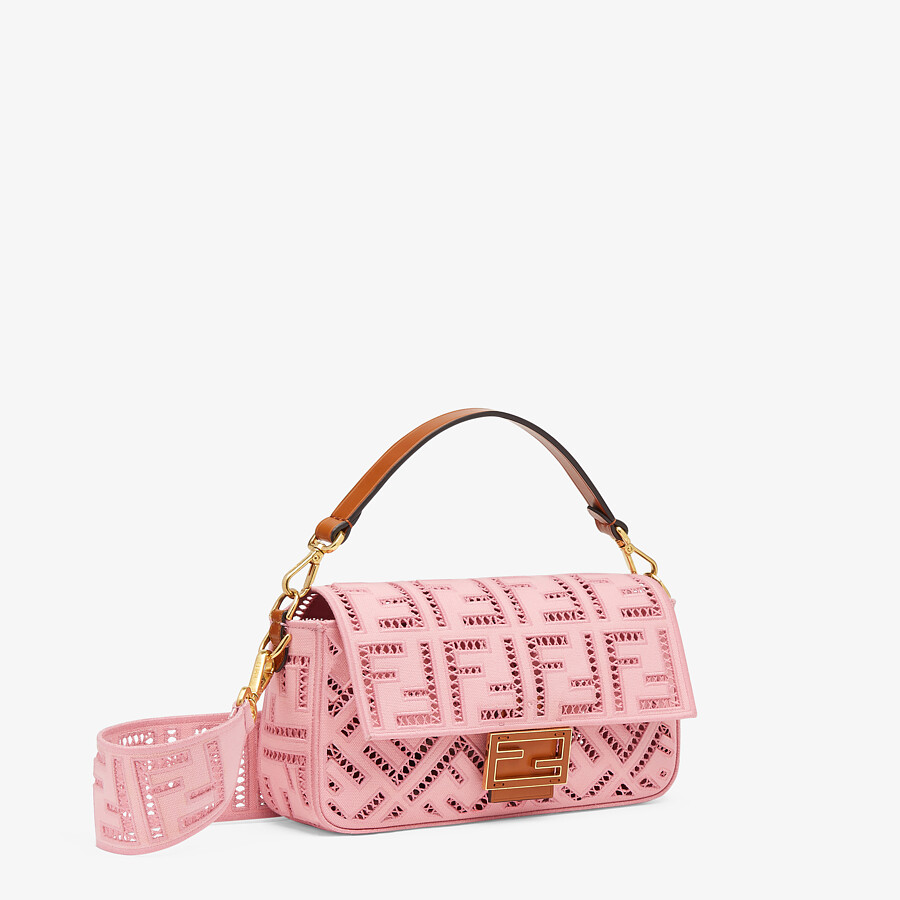 FENDI BAGUETTE - Pink canvas bag with embroidery - view 3 detail