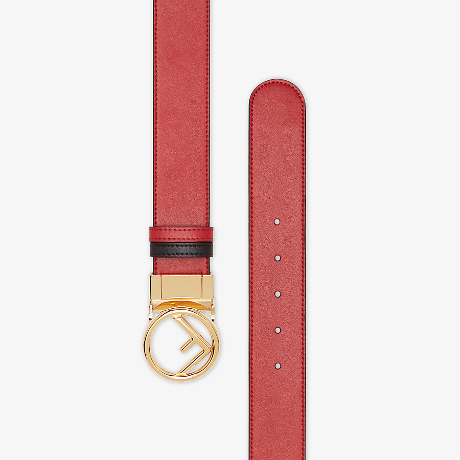 FENDI BELT - Red and black leather belt - view 2 detail