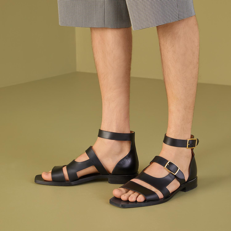 FENDI SANDALS - Black leather sandals - view 5 detail